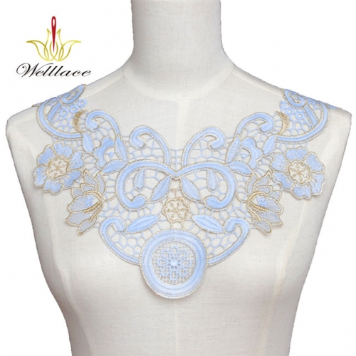 High quality clothing accessories floral embroidery bodice applique neck lace patch for women clothing