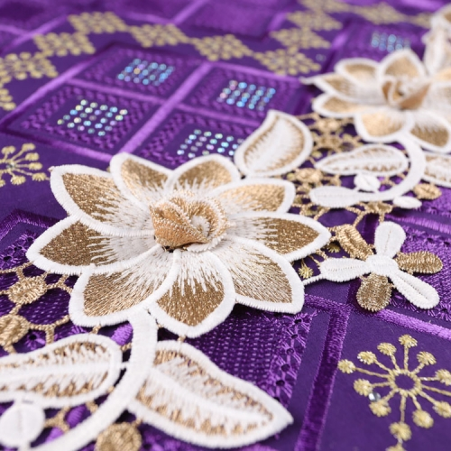 Luxury 3d liturgical embroidery lace trim applique fabric elastic lace embroidered trimming