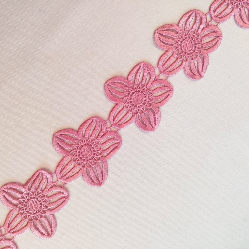 Pink Flower Lace Trimming 100% Polyester French Lace Trim Cord Lace Ribbon Trim