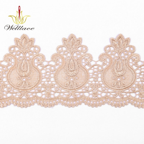 French 3d lace material Popular Design Lace Trim in Dusty Pink for Decoration