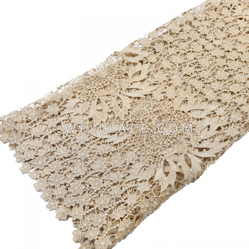 Metallic Yarn embroidered lace fabric gold curtain embroidery ceremony lace fabric