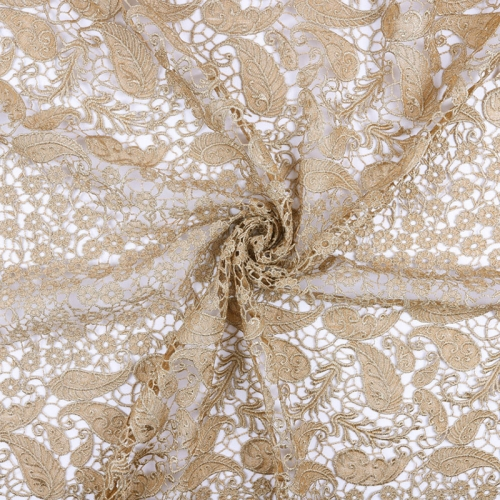 Latest Royal gold African luxury cord dress embroidery bridal dry lace fabric