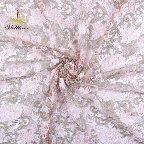 Lace factories wholesale 120-140 cm guipure lace fabric embroidery bridal fabric