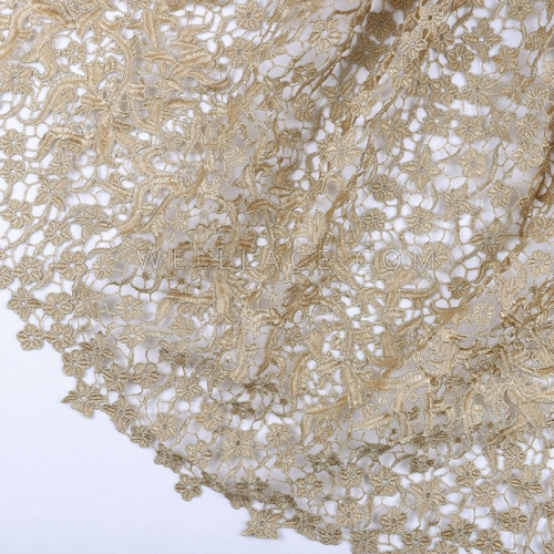High quality gold cord lace guipure embroidery french lace net fabric for wedding dresses