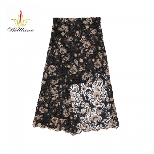 Wholesale new design golden and black lace embroidery cheap chemical guipure lace fabrics 5 yards