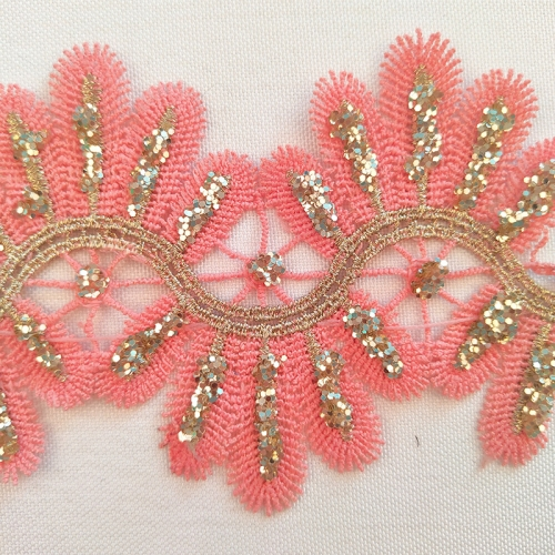 Soft Pink Lace Trim Embroidery with Glitter Embroidery Floral Eyelash Fancy Lace Trimming Wholesale