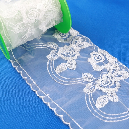 Cheap thin soft turkish tulle mesh white embroidery lace ruffle mesh tulle fabric